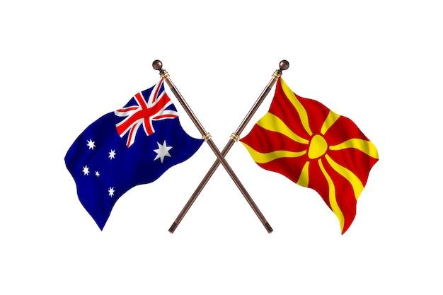 Australië versus macedonië vlaggen achtergrond