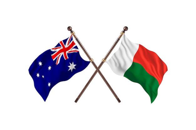 Australië versus madagaskar vlaggen achtergrond