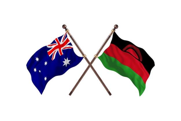 Australië versus malawi vlaggen achtergrond
