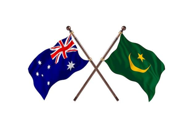 Australië versus mauritanië vlaggen achtergrond