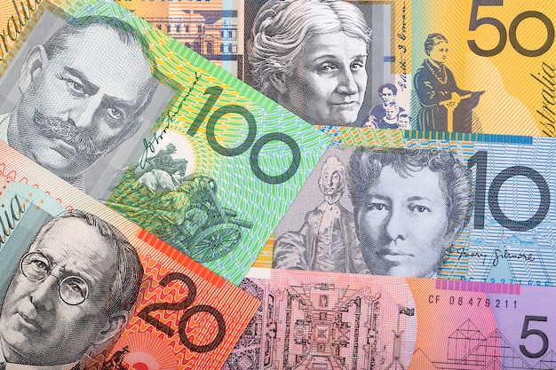 Australische dollars, een zakelijke achtergrond