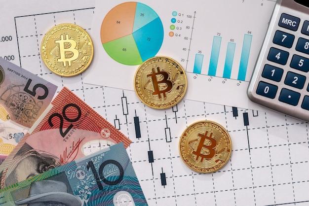 Australische dollars en bitcoins op grafieken