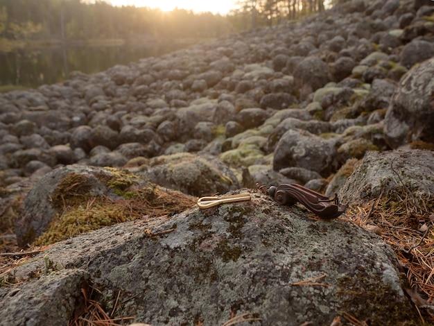 Authentiek noordelijk muziekinstrument ligt op de stenen, verlicht door de ochtendzon
