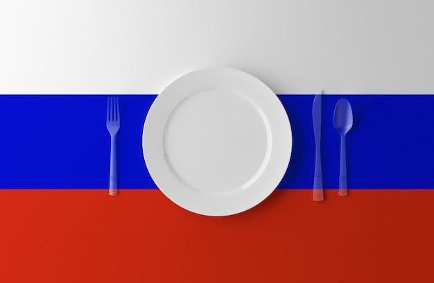 Authentieke keuken van rusland. plaat met russische vlag en bestek. 3d-afbeelding.