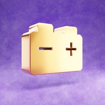 Auto batterijpictogram geïsoleerd op violet fluweel