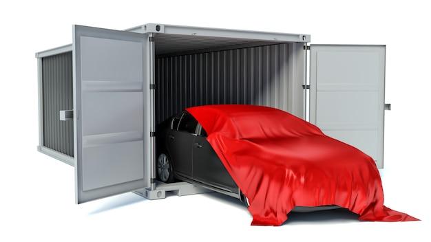 Auto bedekt met rode doek en container