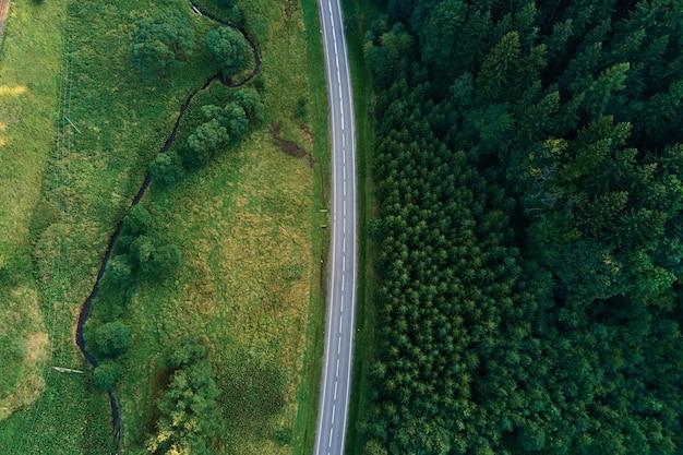 Auto beweegt op de weg door de luchtfoto van het dennenbos