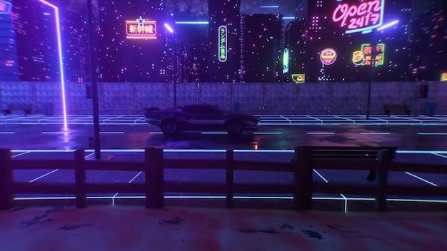 Auto en stad in neonstijl. 80s retro golf achtergrond 3d illustratie. retro futuristische autorit door neonstad.