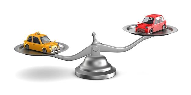 Auto en taxi op weegschaal. geïsoleerde 3d-afbeelding