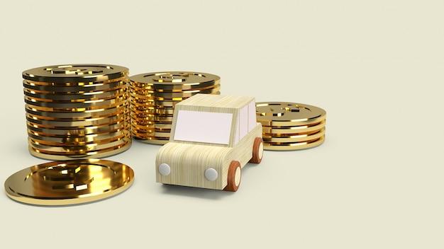 Auto houten speelgoed en gouden munten voor auto