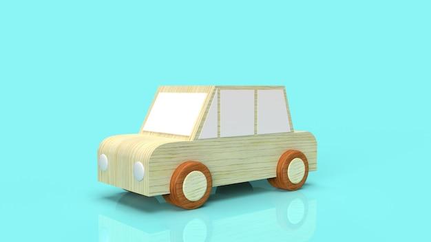 Auto houten speelgoed voor 3d-rendering van verkeersinhoud.