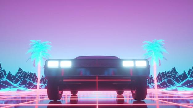 Auto in neon cyberpunk-stijl. retro futuristische autorit door neonstad. 3d-rendering.