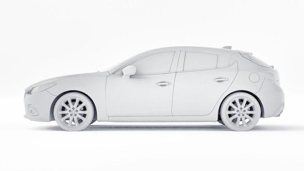 Auto met blanco oppervlak voor uw creatieve ontwerp. 3d-weergave.