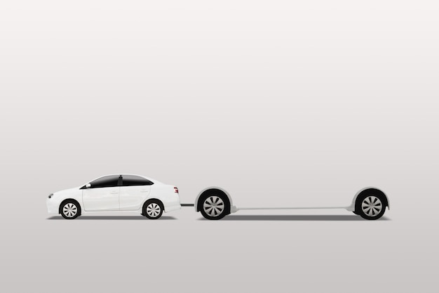 Auto met mobiel reclamebord. buitenreclame, spandoek. geïsoleerd op een witte achtergrond.