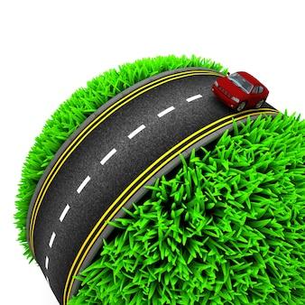 Auto oversteken van de weg bol