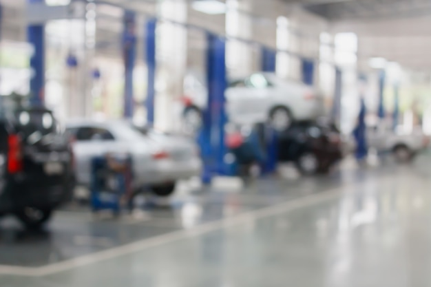 Auto reparatie tankstation wazig achtergrond