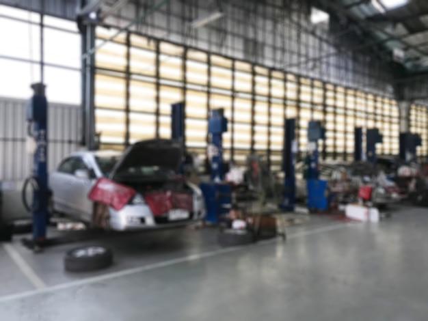 Auto reparatiecentrum auto reparatie tankstation wazig achtergrond