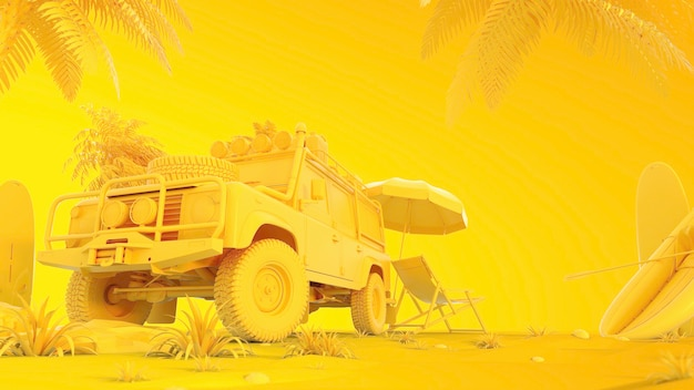 Auto's, bomen en strandstoelen. 3d render en illustratie.