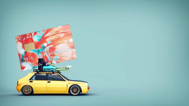 Auto's met creditcards staan op het dak. 3d-rendering en illustratie.