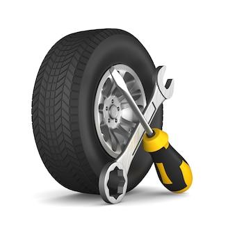 Auto service op wit. geïsoleerde 3d-afbeelding