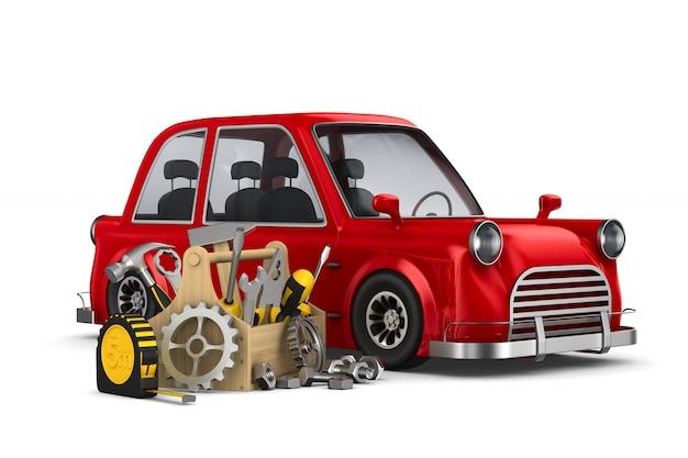 Auto service op witte 3d-afbeelding