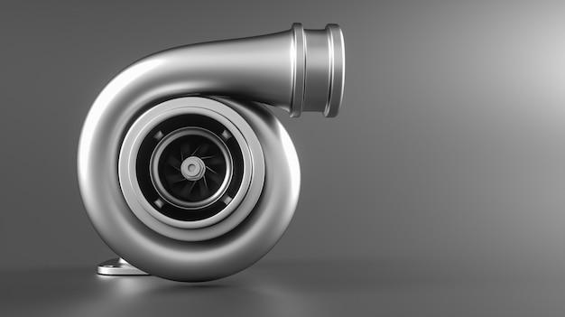 Auto turbocompressor geïsoleerd op een grijze achtergrond