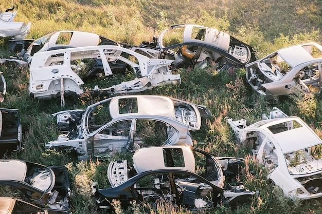 Autodump veel autoframes waarin het gras is ontsproten liggen op de grond