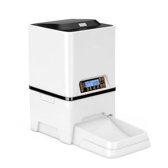 Automatische elektronische digitale huisdier droog voedsel opslag maaltijd feeder dispenser op een witte achtergrond. 3d-rendering
