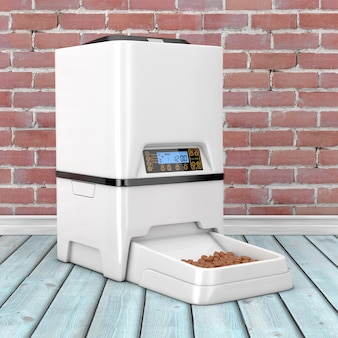 Automatische elektronische digitale opslag van droog voedsel voor huisdieren maaltijdvoederautomaat op een houten vloer. 3d-rendering