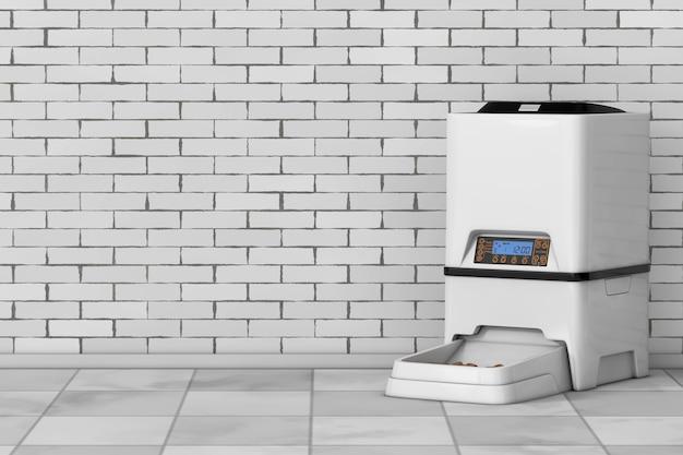 Automatische elektronische digitale opslag voor droog voedsel voor huisdieren maaltijdvoederautomaat voor bakstenen muur. 3d-rendering