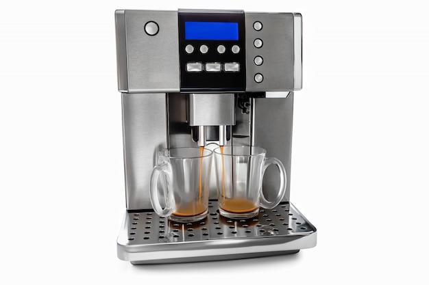 Automatische koffiemachine voor twee kopjes koffie