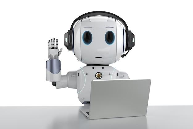 Automatisering klantenserviceconcept met 3d-rendering schattige robot werken met headset en notebook
