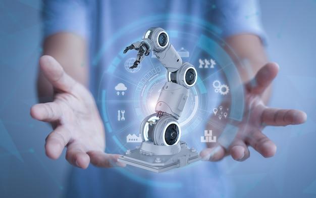 Automatiseringsindustrieconcept met menselijke hand presenteren 3d-rendering robotarm met grafisch display