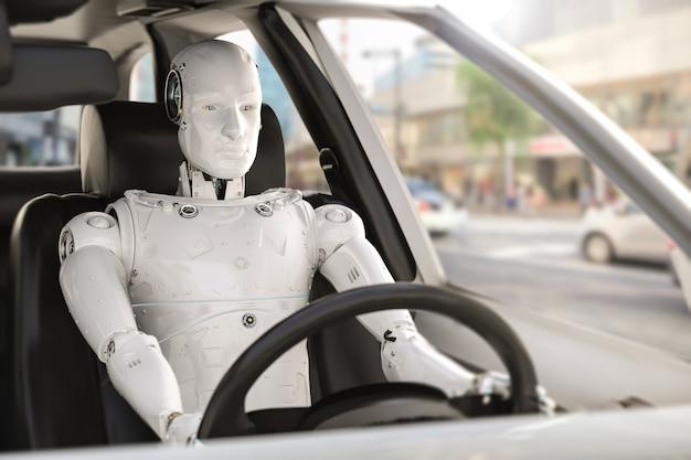 Autonoom autoconcept met 3d-rendering cyborg-aandrijfauto