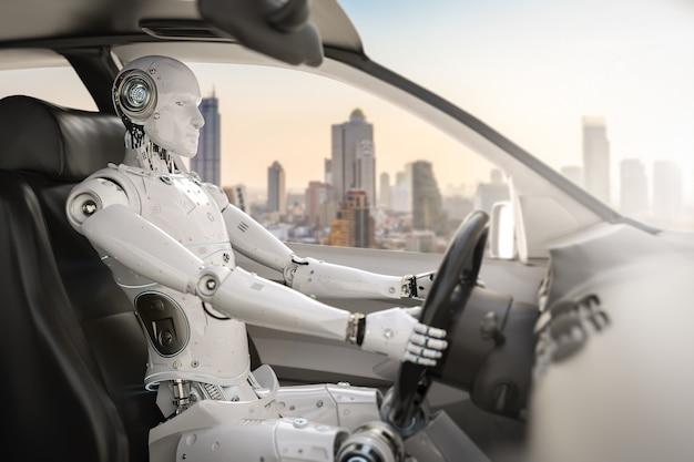 Autonoom autoconcept met 3d-rendering cyborg-aandrijfauto Premium Foto