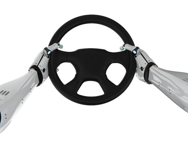 Autonoom autoconcept met stuur met robotarmgreep