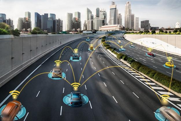Autonoom autosensorsysteemconcept voor veiligheid van autobesturing zonder bestuurder Premium Foto