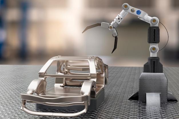 Autoproductieverwerkingsservice in fabrieksrobot hi-tech robotachtige ai-controlearm handrobot kunstmatig voor autotechnologie garagedealer met technische hand cyborg engineering automotive 3d-rendering