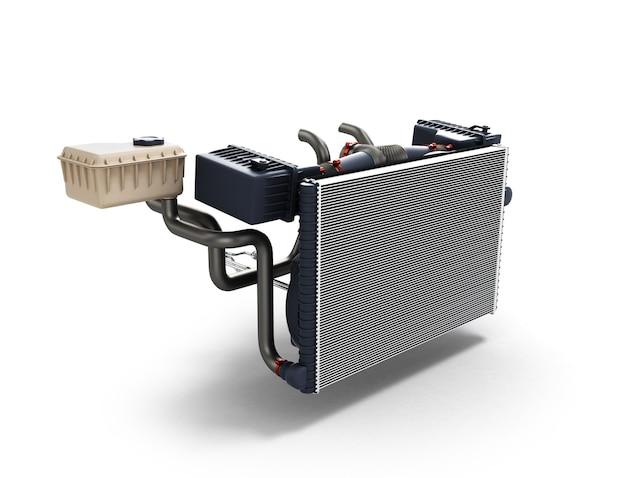 Autoradiator op witte 3d illustratie wordt geïsoleerd die als achtergrond