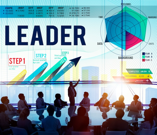 Autoriteit corporate zakenmensen grafiek analyse toonaangevende