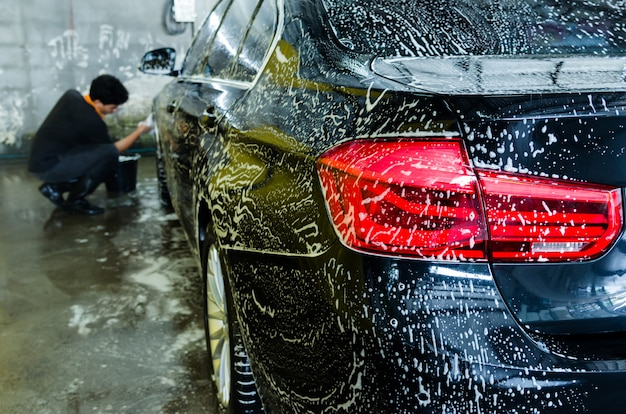 Autowassen bubbels