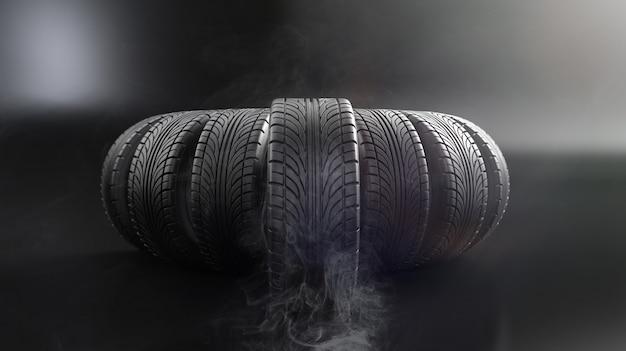 Autowielen op zwarte muur. poster- of omslagontwerp. 3d rendering illustratie.