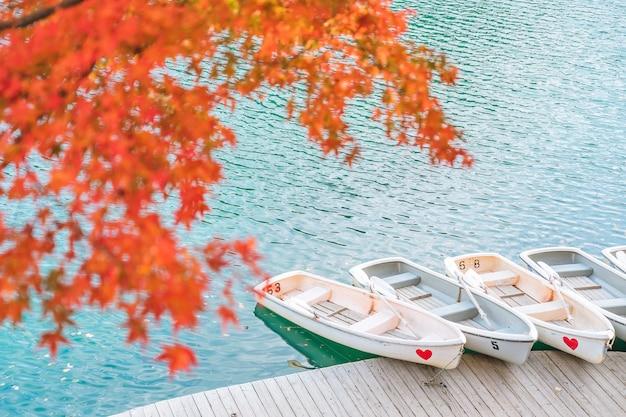 Autumn leaves bij goshikinuma (five volcanic lakes of five coloured lakes), een populaire bestemming in bandai highlands in de herfst in de prefectuur fukushima, japan