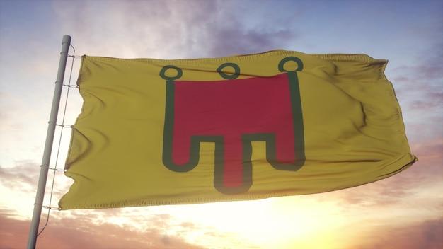 Auvergne vlag, frankrijk, zwaaien in de wind, lucht en zon achtergrond. 3d-rendering.