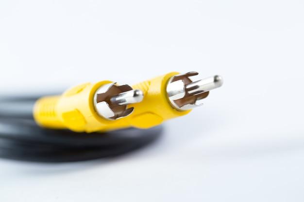 Av-kabel, video coaxiale analoge kop ondiepe scherptediepte vervagen voor achtergrond