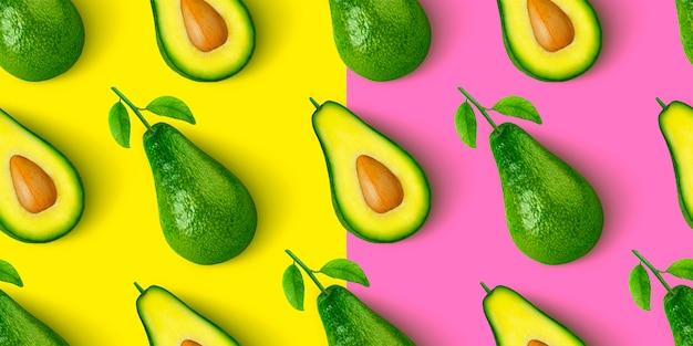 Avocado naadloos patroon dat op kleurenachtergrond wordt geïsoleerd