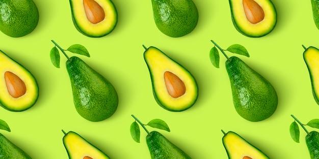 Avocado naadloze patroon geïsoleerd op groene achtergrond