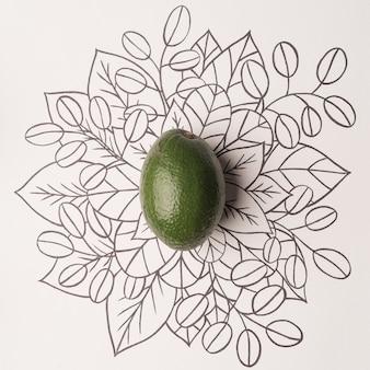 Avocado over overzichts bloemenachtergrond
