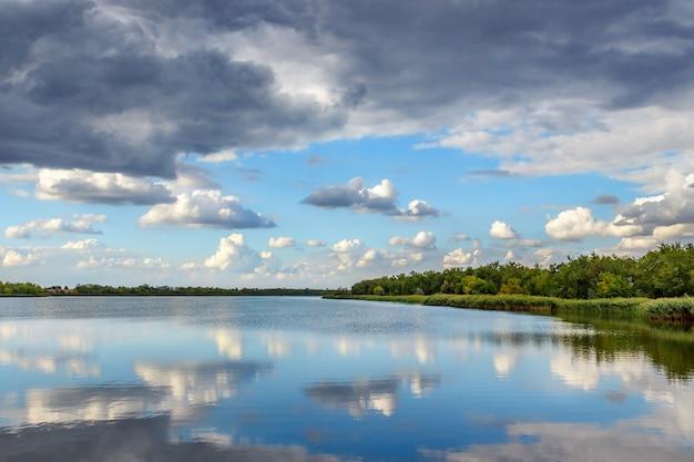 Avond zomer landschap met weelderige denneboom aan de oevers van de rivier