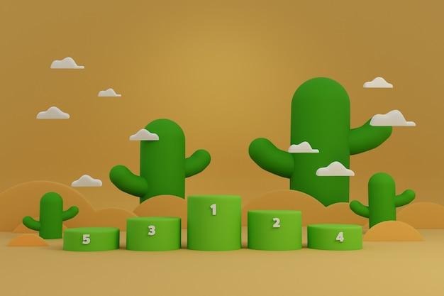Award podium stand voor winnaar in sport- of spelshow-uitdaging met cactus op woestijnscène.
